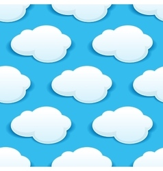 Seamless background pattern of fluffy white clouds vector image