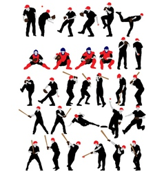Set of detail baseball athlete silhouettes vector