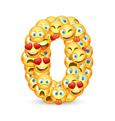 A set emoticons shaped as zero number vector