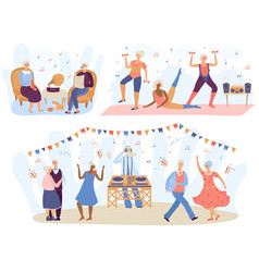 active seniors elderly people training in vector image