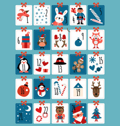advent calendar winter christmas numbers cute vector image
