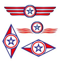 american symbols logo emblem icons set vector image