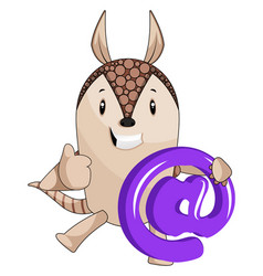 armadillo holding sign on white background vector image