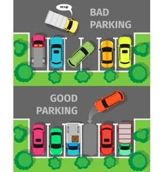 Bad and Good Parking Top View vector