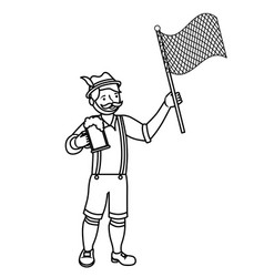 bavarian man with beer and flag vector image