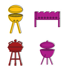 bbq tools icon set color outline style vector image