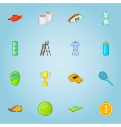 Big tennis icons set cartoon style vector