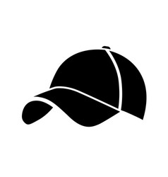 Black baseball cap icon vector