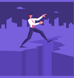 Blindfold businessman step into abyss leap vector
