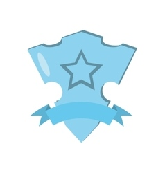 Blue shield glossy star and blue ribbon vector