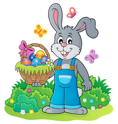 Bunny holding easter basket theme 4 vector