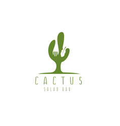 cactus and fork negative space design template vector image