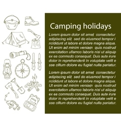 Camping holiday card with line icons vector image