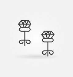 carnation earrings with diamond outline vector image