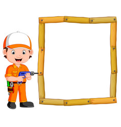 Carpenter with hand drill and wood frame vector