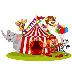 Cartoon happy animal circus and clown vector