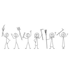 Cartoon set angry mob stick characters with vector