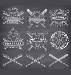 chalkboard baseball logos vector image