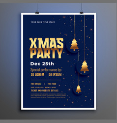 christmas party poster template with golden xmas vector image