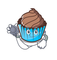 doctor chocolate cupcake character cartoon vector image