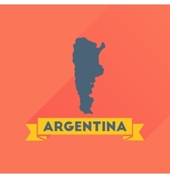 Flat icon with long shadow map of argentina vector