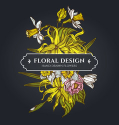 floral bouquet dark design with ylang-ylang vector image