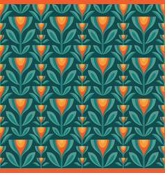 Flowers leaves background mid-century vector