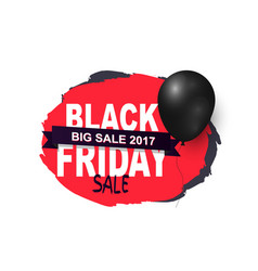 friday sale promo label with black balloon icon vector image