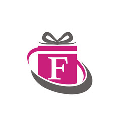 Gift box ribbon letter f vector