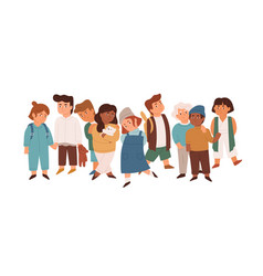 Group cute little children standing together vector