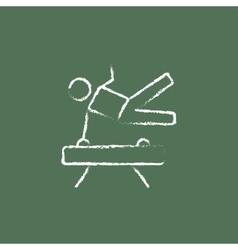 Gymnast on pommel horse icon drawn in chalk vector