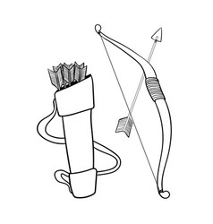 hand drawn arrows bow and case- vector image