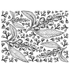 Hand drawn background american pokeweed fruits vector