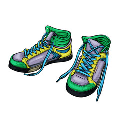 hand drawn sketch green sneakers vector image