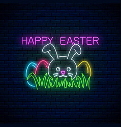 Happy easter glowing signboard with bunny and vector