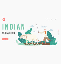Indian agriculture landing page template farmer vector