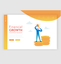 Investment financial growth landing page template vector