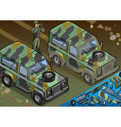 Isometric military jeep with soldier in front view vector