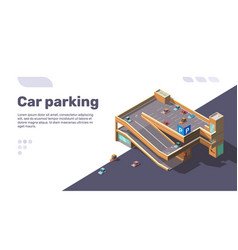 Isometric multi level car parking with automobiles vector