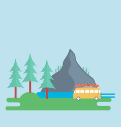 landscape with a mountain forest and a camping vector image