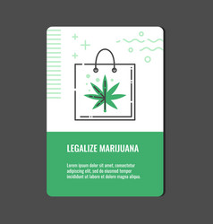 Legalize marijuana vertical banner with line icon vector