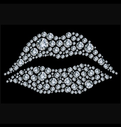 lips shape made from diamonds vector image vector image
