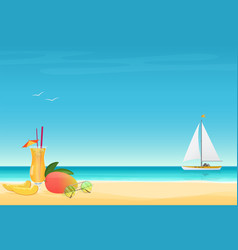 Mango fruit cocktail on the sand beach background vector