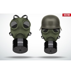 Military helmets with gas mask vector