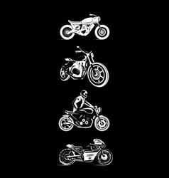 Moto bike icon set cafe racer vector