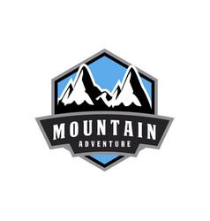 mountain adventure emblem logo vector image