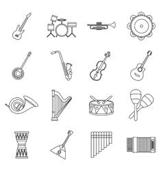 Musical instruments icons set in outline style vector image