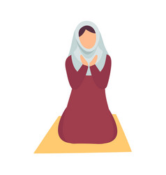 muslim woman in hijab praying on her knees eid al vector image