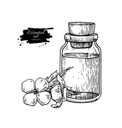 Mustard essential oil bottle and flower hand vector