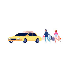 people get in car taxi service and cartoon vector image